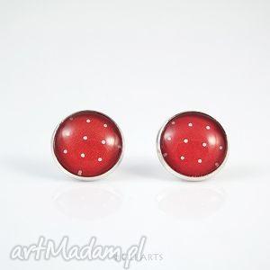 kolczyki - czerwone w białe kropki wkrętki, sztyfty
