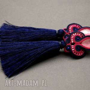 granatowo-malinowe klipsy sutasz z chwostami, sznurek, fuksja, wiszące
