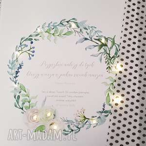 ślub świecący obraz led wianek prezent personalizowany ślub rocznica dla niej kwiaty lampa młodej pary