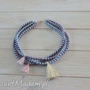 naszyjnik pastelowy boho perły - perły, pastelowe, boho, chwosty, krótki