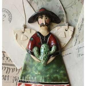 prezent na święta, aniołek meksykanin, ceramika, anioł, kaktus