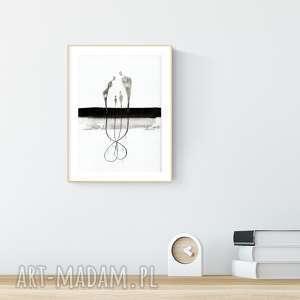 grafika grafika a4 malowana ręcznie, minimalizm, abstrakcja czarno-biała