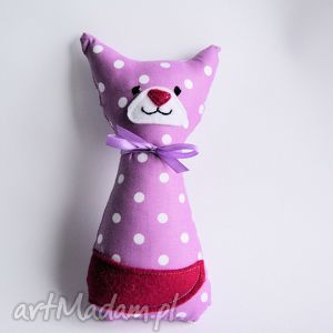 kotek mruczek lawendowy - 18 cm, kotek, mruczek, niemowlę, dziecko, maskotka