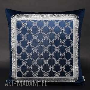 ręcznie wykonane poduszki poduszka barok granat 45x45cm - wzór