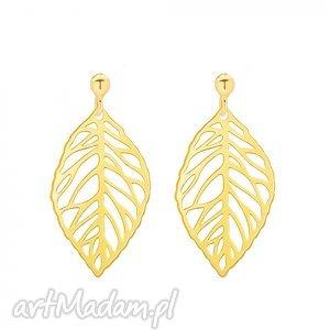 sotho złote kolczyki z ażurowymi liśćmi - minimalistyczne
