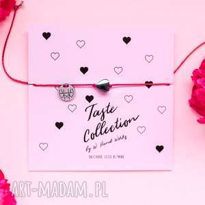 WHW Taste Graphite Heart On Red String, sznurkowa, sznureczkowa, delikatna, serce