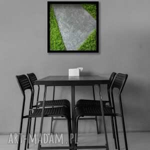 obraz w ramie - ręcznie wykonany z betonu i mchu 50x50cm, betonu