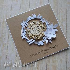kartka zaproszenie minimalizm i elegancja, biel i eko - komunia, ślub, chrzest