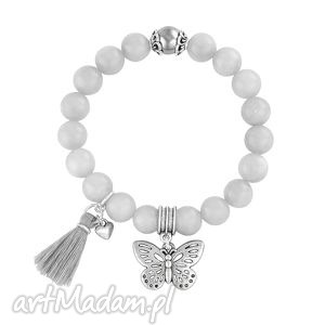 tassel - light grey jade butterfly - chwost, jadeit