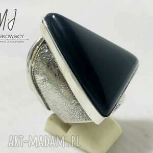 unikatowy srebrny pierścionek z kamieniem onyx rękodzieło rozmiar