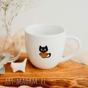 hand-made kubki przepiękny porcelanowy kubek - kot ze złotym sercem