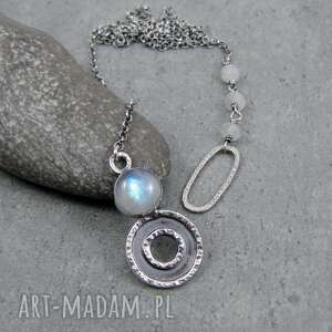 Short and long moonstone naszyjniki amade studio regulowany