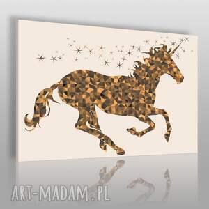 obraz na płótnie - jednorożec złoty gwiazdy 120x80 cm 85701, jednorożec