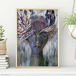 plakaty plakat 50x70 cm - uskrzydlona, plakat, wydruk, twarz, postać, kobieta