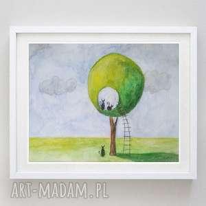 abstrakcja-akwarela formatu a4, koty, drabina, papier, drzewo, akwarela