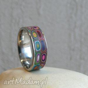 kolorowa obraczka - obrączka, pierścionek, geometryczne, kolorowe, modne