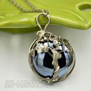 yggdrasil - naszyjnik ze szkłem - naszyjnik z wisiorem, drzewo życia, retro