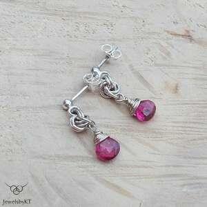 turmalinowe kolory - róż, srebrna biżuteria, srebrne kolczyki, kolczyki