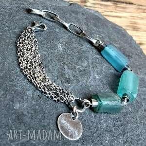 bransoletka srebrna ze szkłem afgańskim, srebro, srebro oksydowane