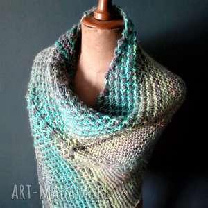 ręcznie zrobione szaliki wielobarwna mozaikowa chusta