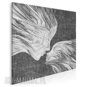 Obraz na płótnie - TWARZE POCAŁUNEK W KWADRACIE 80x80 cm (13509), twarze