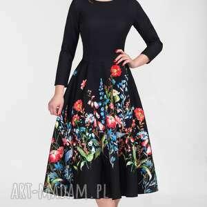 Sukienka STAR 3/4 Total Midi Malwina, midi, kwiaty, rozkloszowana, kieszenie