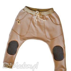 handmade spodnie karmelowy beż baggy