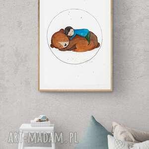 plakat - obraz 70x100 cm bury miś, niedźwiedź, wydruk, dekoracja, dzieci, bajka