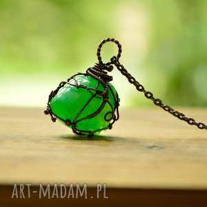 zielony amulet - naszyjnik z wisiorem ze szkŁem - naszyjnik z wisiorem, wisior zielony