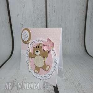 zaproszenie kartka z cudnym misiem - urodziny, narodziy, sesja, pamiątka, słodka