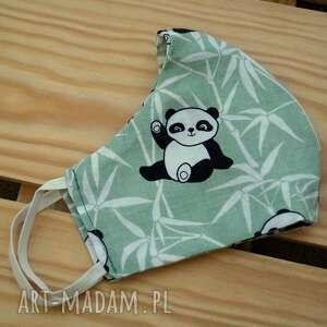 bawełniana maska damska, maska, maseczka, wzorzysta, wesoła, miś panda, damska