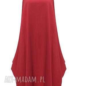 sukienki czerwona sukienka oversize, sukienka, mama, kobieca, damska, len