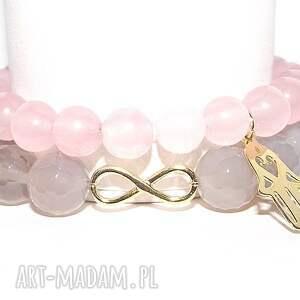 Komplet cudny pastelowy, kamienie, agat, hamsa, infinity, ręka, złoto