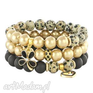 black golden & beige set - blackstone, perła, kwiatek, jaspis