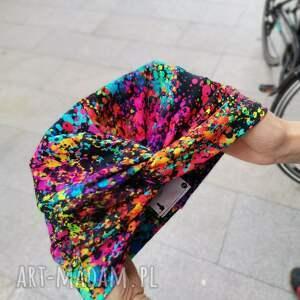 ręcznie zrobione czapki turban kolorowy uniwersalny