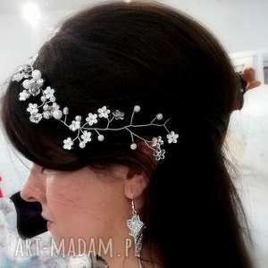 Aplikacja ozdoba ślubna stroik do włosów MIA !!! , kryształki, fryzura-ślubna