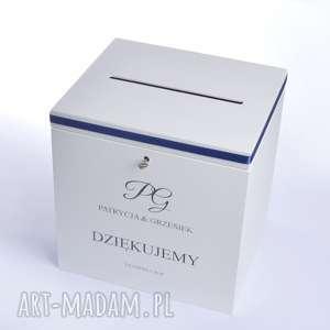 ślub duże ślubne pudełko na koperty personalizowane, chabrowe, chabrowy