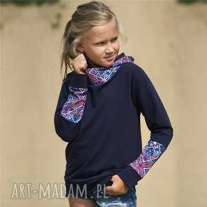 bluza dziewczęca z kapturem kalejdoskop granatowa, bluza, dziecięca, kangurek