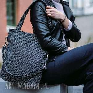 torba w kolorze melanżowym z grubo plecionej tkaniny, torebka, personalizacją