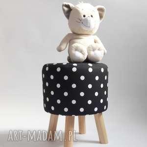 Pufa białe grochy - 36 cm czarna owca store pufa, stołek