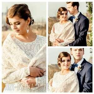 ślub szal ślubny bezowy