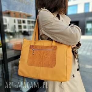 handmade na ramię duża morelowa torba ze skóry