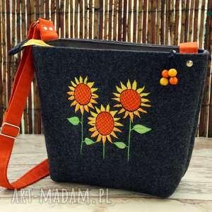 filcowa torebeczka - słoneczniki, torebka, listonoszka, prezent, kwiatki, codzienna