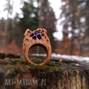 Drewniany pierścień lączony z żywicą Druid s ring , las, natura, folk, etniczny
