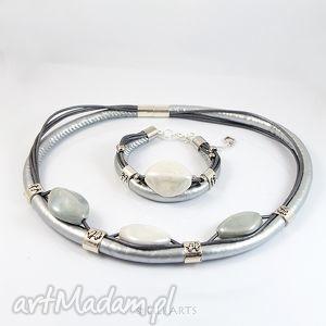 komplet - srebrny - naszyjnik, bransoletka, ceramiczne - naszyjnik, komplet, bransoletka