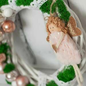 wianek świąteczny z pastelowym różem, świąteczny, dla dziewczynki