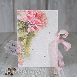 różana kartka ślubna, ślub, kartka, karnet, róże, tłoczona