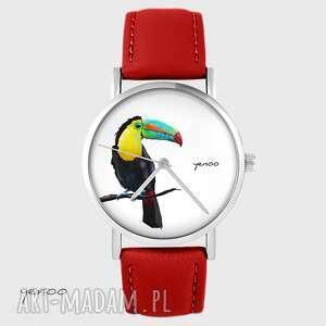 Zegarek - tukan czerwony, skórzany zegarki yenoo zegarek