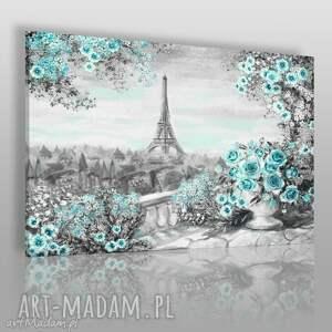 obrazy obraz na płótnie - pejzaż paryż róże turkus 120x80 cm 55902, paryż