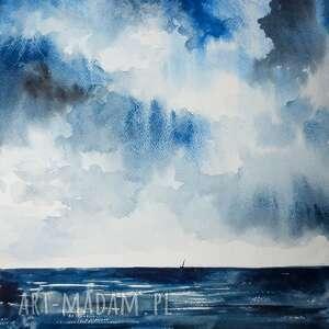 ocean akwarela artystki adriany laube - obraz na papierze a3, pejzaż, krajobraz